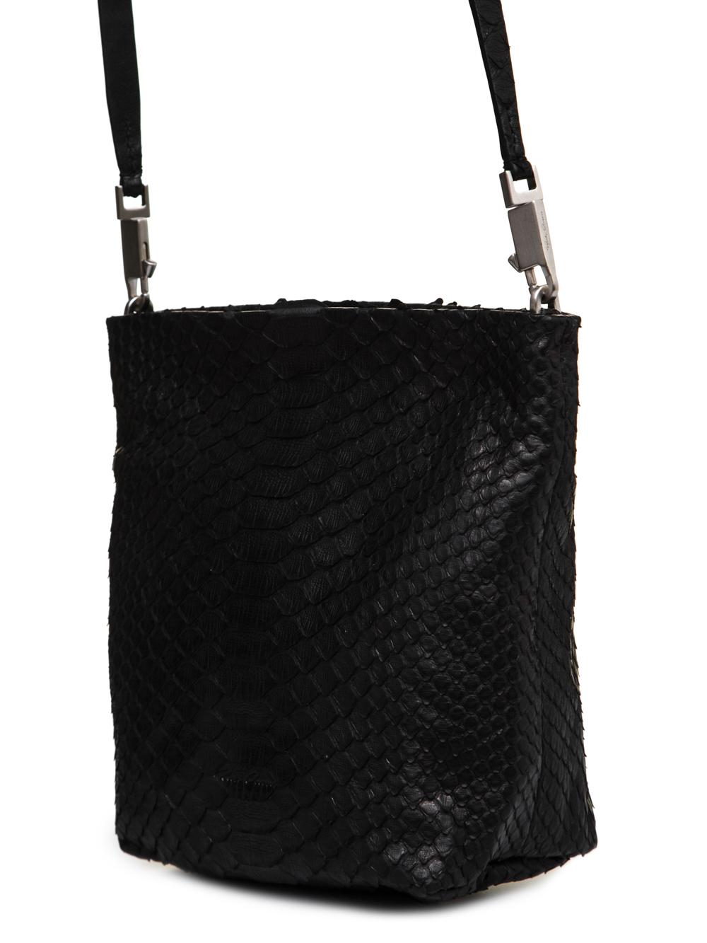 RICK OWENS FW18 SISYPHUS SMALL ADRI BAG IN BLACK PYTHON LEATHER