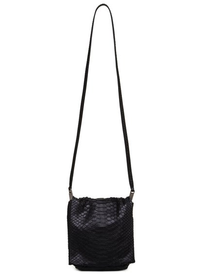 RICK OWENS FW18 SISYPHUS SMALL FLAP ADRI BAG IN BLACK PYTHON LEATHER