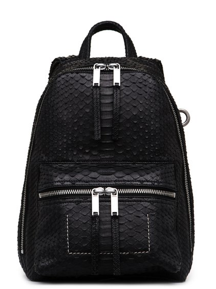 RICK OWENS FW18 SISYPHUS MINI BACKPACK IN BLACK PYTHON LEATHER