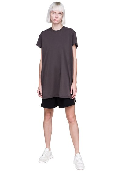 RICK OWENS FW18 SISYPHUS OFF-THE-RUNWAY SHORT-SLEEVE LOOSE RIVET TEE IN DARKDUST GREY MEDIUMWEIGHT COTTON JERSEY