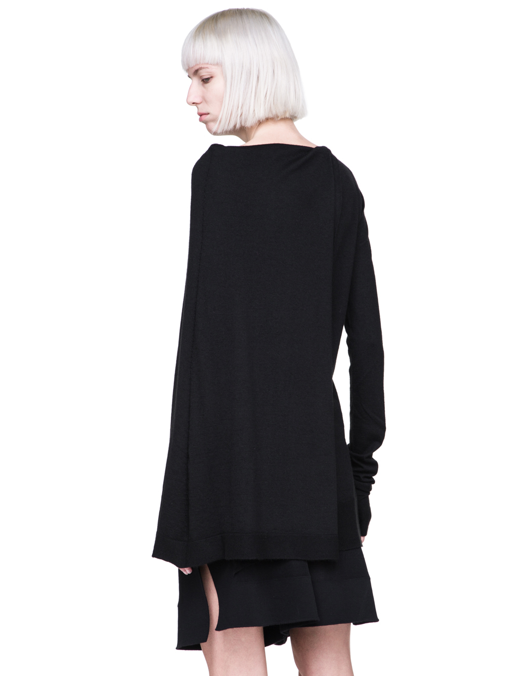 RICK OWENS FW18 SISYPHUS OFF-THE-RUNWAY CAPE TUNIC IN BLACK STRETCH CASHMERE