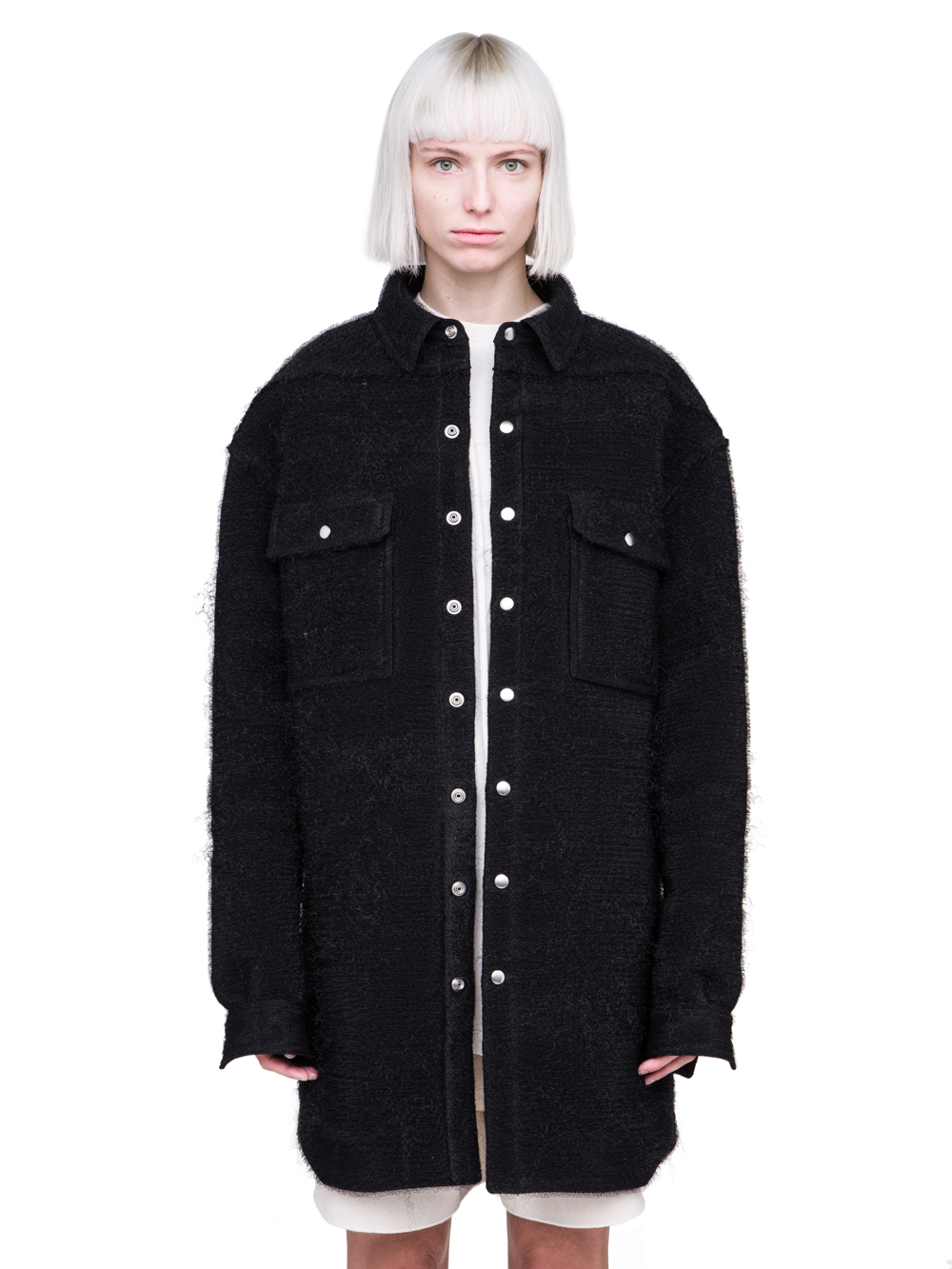 RICK OWENS FW18 SISYPHUS OFF-THE-RUNWAY OVERSIZED OUTERSHIRT IN BLACK PLASTIC SHEARLING