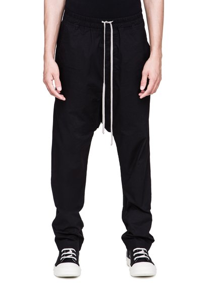 DRKSHDW FW18 SISYPHUS DRAWSTRING LONG PANTS IN BLACK LIGHTWEIGHT POPLIN