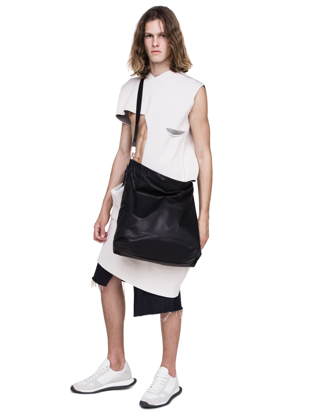 RICK OWENS OFF-THE-RUNWAY MEGA MAIL BAG IN BLACK BABY CALF LEATHER