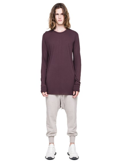 RICK OWENS BASIC LONG-SLEEVE TEE IN PURPLE
