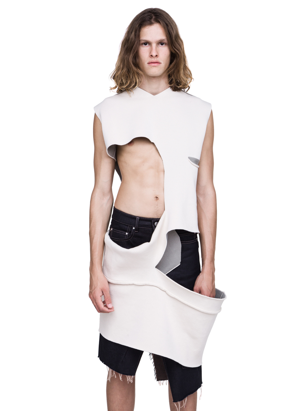 RICK OWENS SHRED TOP IN NATURAL AND PEARL BEIGE SCULPTURE KNIT