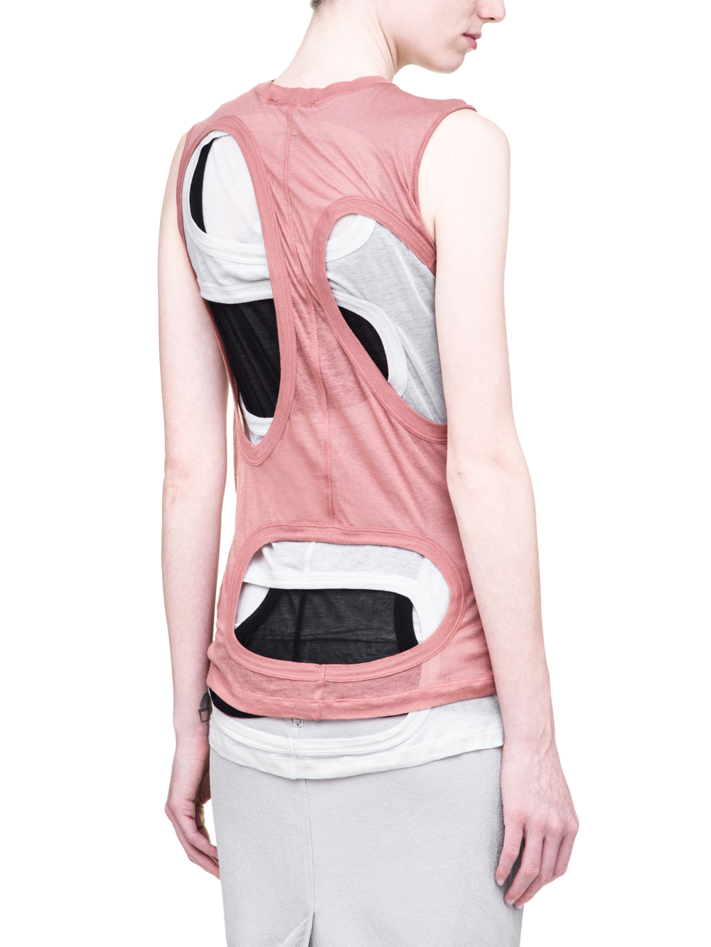 RICK OWENS SS19 BABEL MEGA MEMBRANE TEE IN LIGHT COTTON IS A COMBO OF THREE DIRT MEMBRANE TEES IN BLACK, GREY AND PINK
