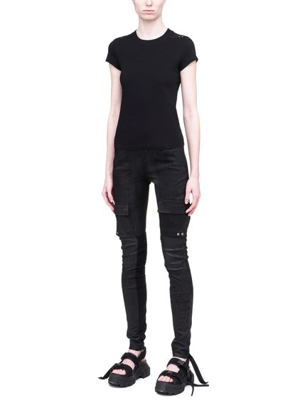 RICK OWENS SS19 BABEL SHORT LEVEL SHORT-SLEEVE TEE IN BLACK MEDIUM WEIGHT COTTON