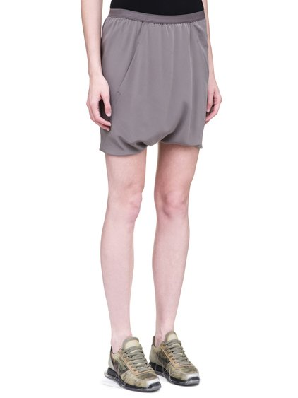 RICK OWENS SS19 BABEL BUDS SHORTS IN DUST GREY SILK CREPE