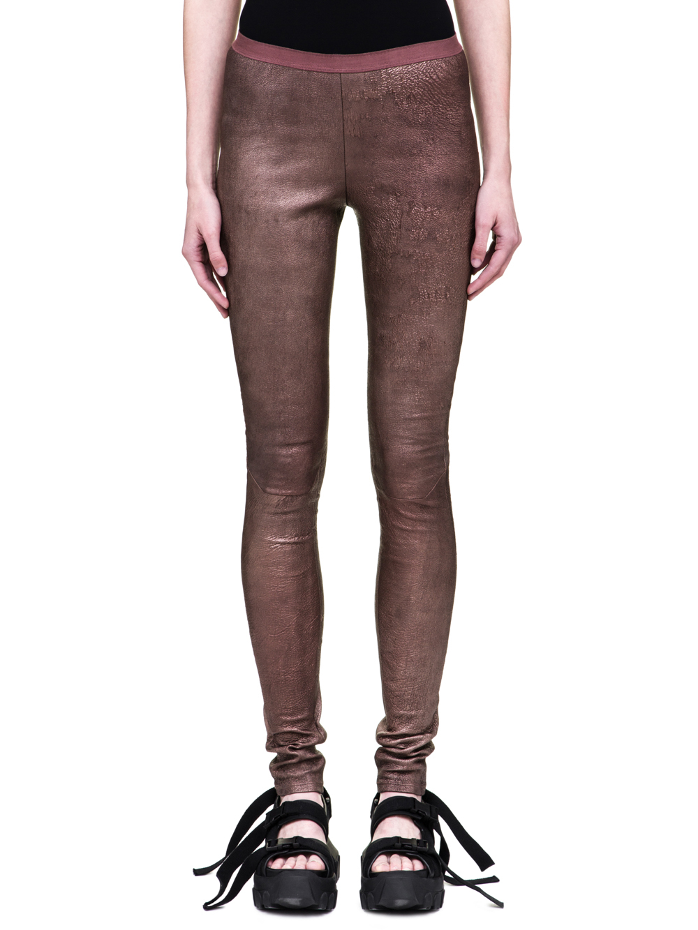 RICK OWENS SS19 BABEL LEATHER LEGGINGS IN METALLIC BLOOD RED STRETCH BLISTER LEATHER