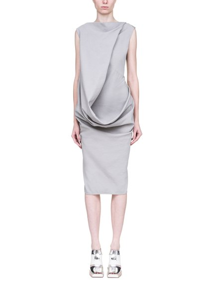 RICK OWENS SS19 BABEL SISYFEMME DRESS IN OYSTER LIGHT GREY.