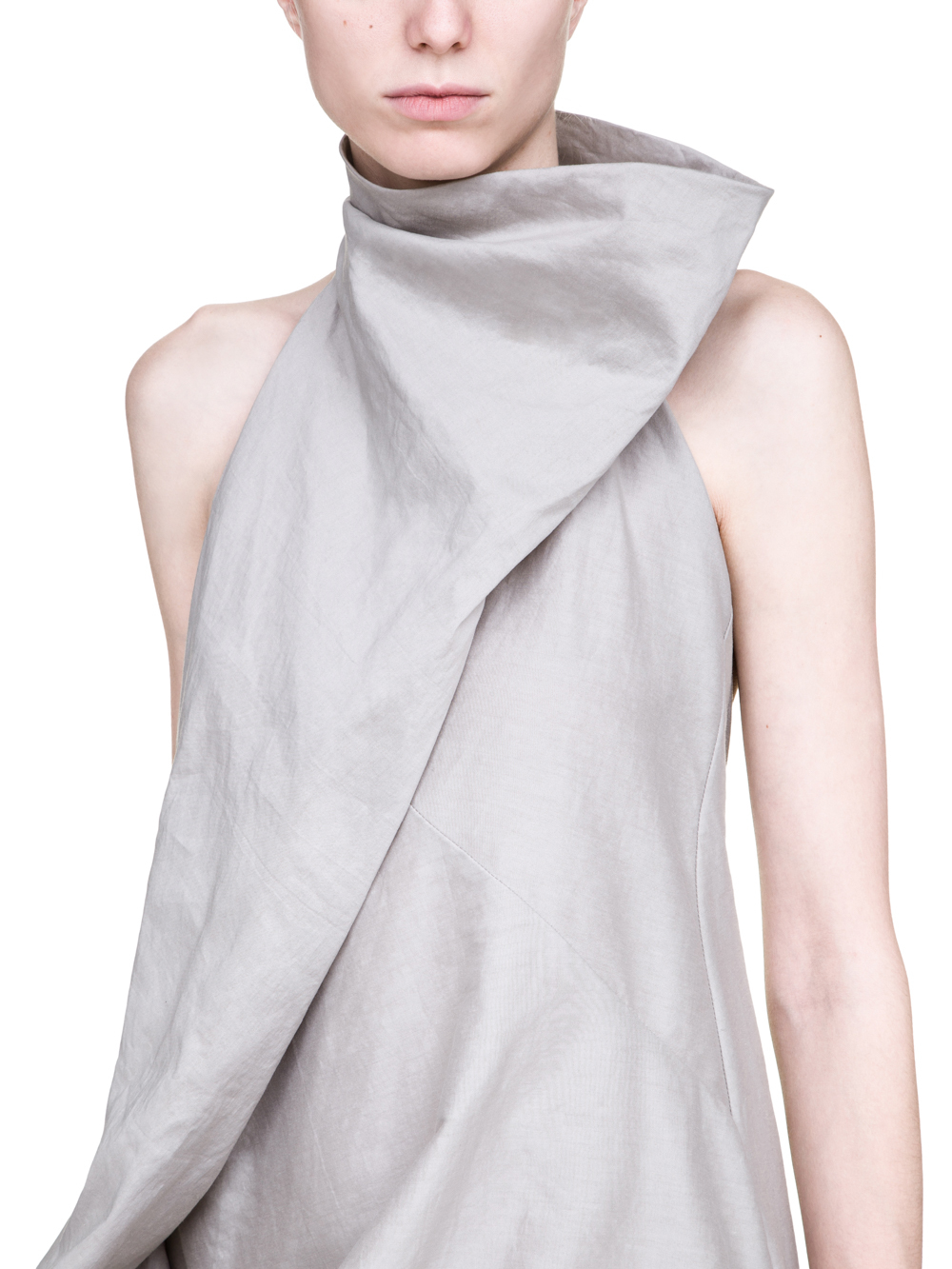 RICK OWENS SS19 BABEL ELLIPSE TUNIC IN OYSTER LIGHT GREY SILK COTTON