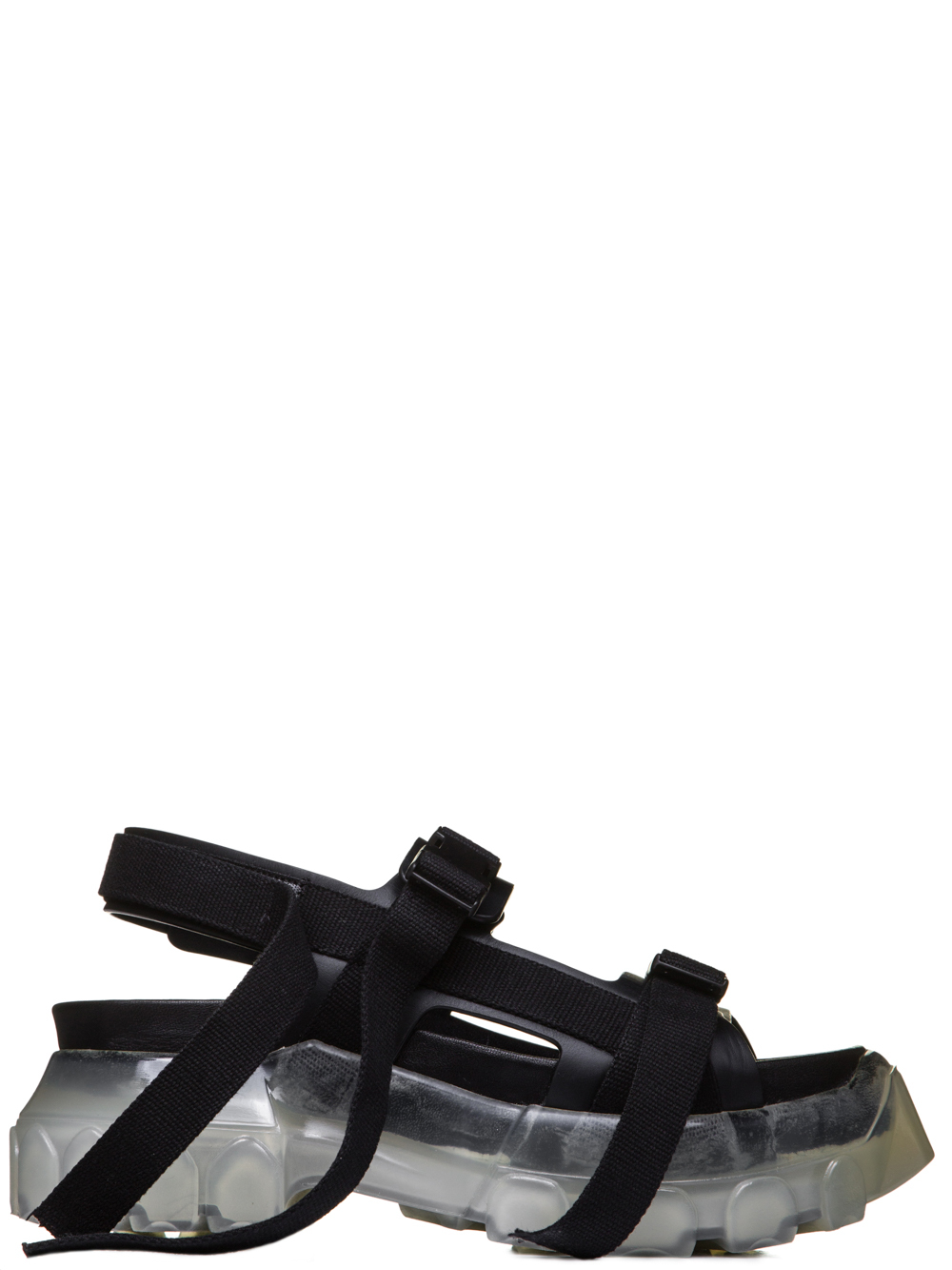 RICK OWENS SS19 BABEL TRACTOR SANDALS IN BLACK