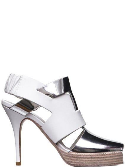 RICK OWENS SS19 BABEL SCORPIO STILETTO IN SILVER AND MILK WHITE LEATHER