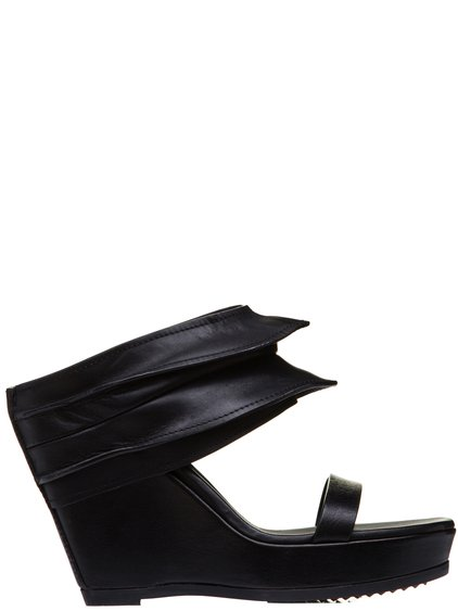 RICK OWENS SS19 BABEL RHINO WEDGE PLATFORM SANDALS IN BLACK