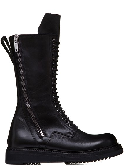 RICK OWENS SS19 BABEL ARMY CREEPER ZIP BOOTS IN BLACK LEATHER