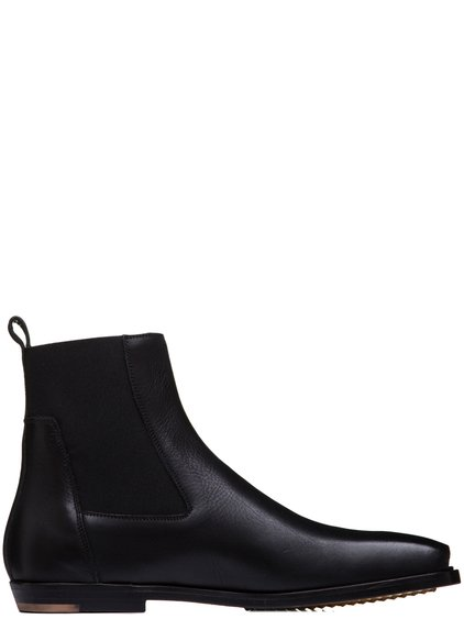 RICK OWENS SS19 BABEL ELASTIC SQUARE TOE FLAT BOOTS IN BLACK LEATHER