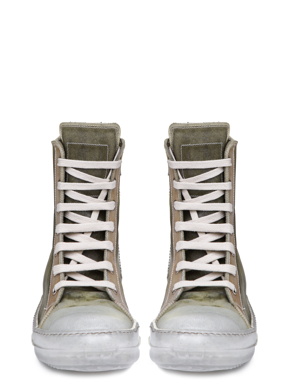 RICK OWENS SS19 BABEL NO CAP SNEAKERS IN NATURAL TRANPARENT CALF LEATHER