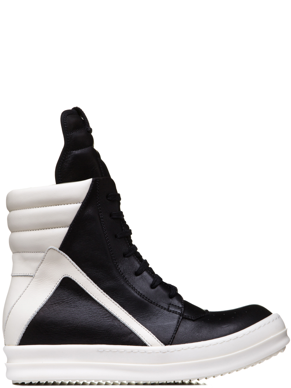 RICK OWENS SS19 BABEL GEOBASKETS IN BLACK CALF LEATHER