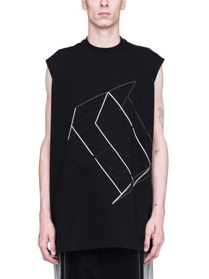RICK OWENS SS19 BABEL TARP TEE IN BLACK COTTON JERSEY