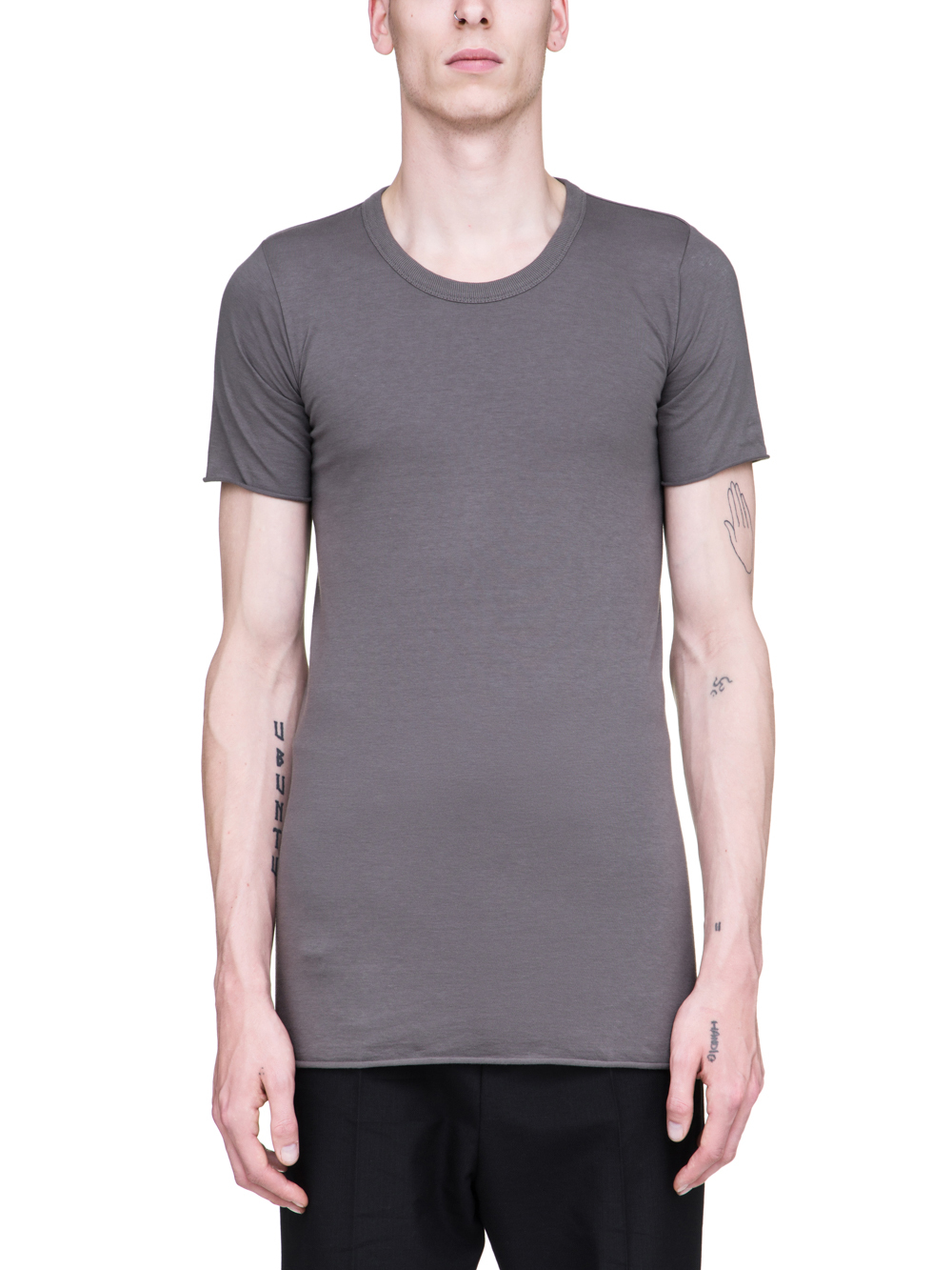 RICK OWENS SS19 BABEL BASIC SHORTSLEEVE TEE IN DUST GREY COTTON