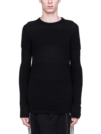 RICK OWENS SS19 BABEL BIKER LEVEL ROUND NECK SWEATER IN BLACK