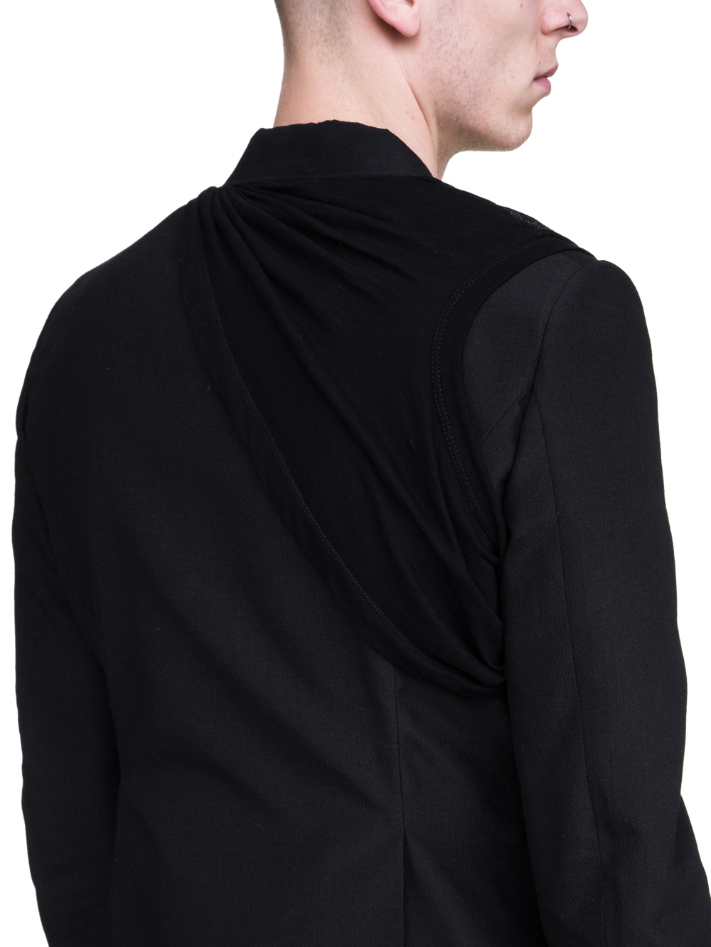 RICK OWENS SS19 BABEL NEW SOFT BLAZER IN BLACK