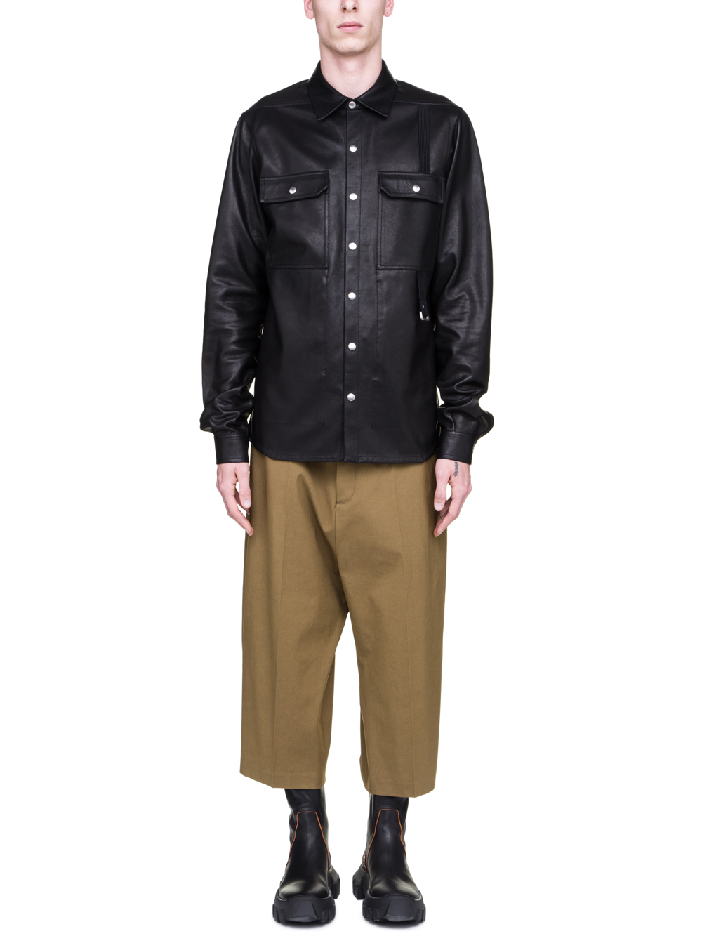 RICK OWENS SS19 BABEL OUTERSHIRT IN BLACK COWBOY CALF LEATHER