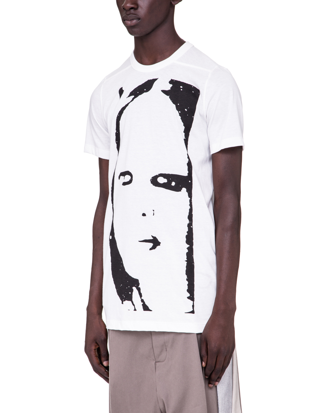 RICK OWENS SS19 BABEL LEVEL TEE WITH KEMBRA PRINT IN MILK WHITE COTTON