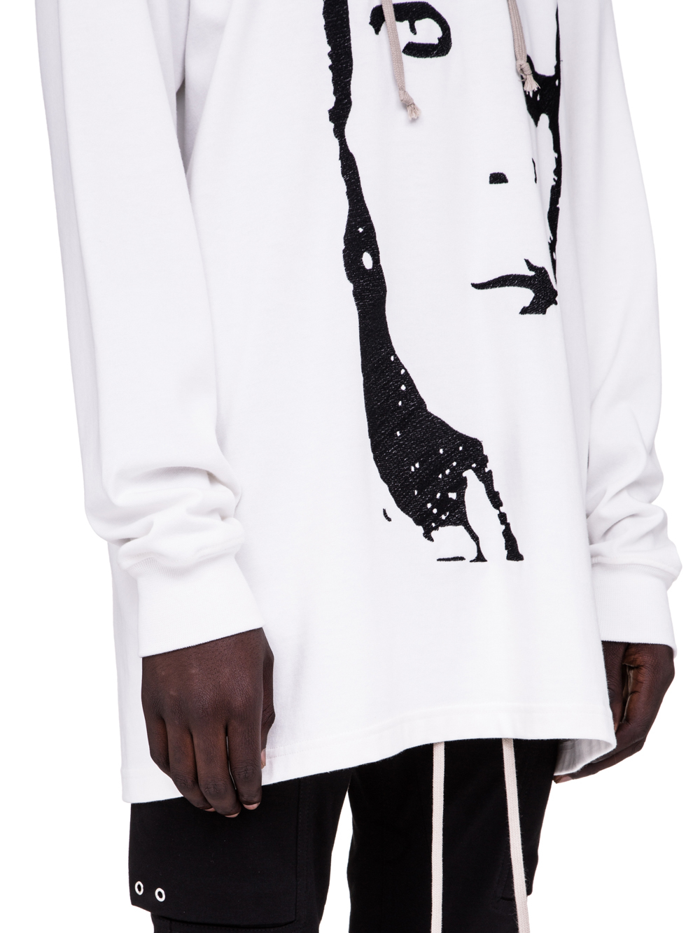 RICK OWENS SS19 BABEL HOODIE WITH A KEMBRA EMBROIDERY IN WHITE COTTON