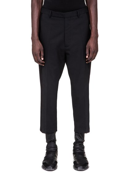 RICK OWENS SS19 BABEL SLIM TUX CROPPED ASTAIRES TROUSERS IN BLACK