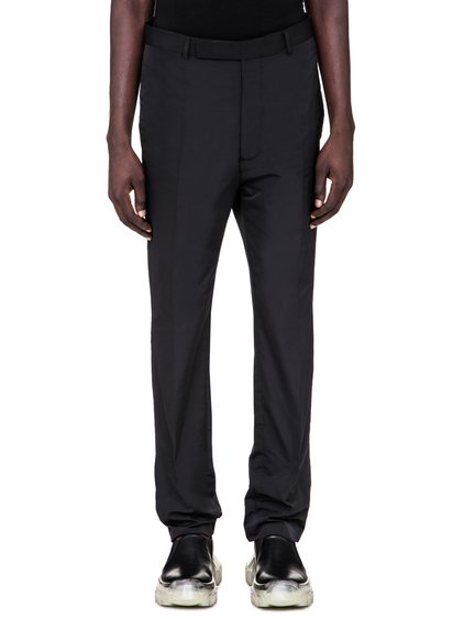 RICK OWENS SS19 BABEL SLIM LONG ASTAIRE TROUSERS IN BLACK