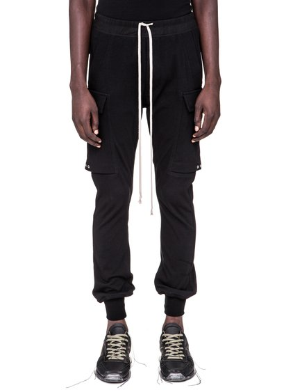 RICK OWENS SS19 BABEL CARGO JOG PANTS IN BLACK COTTON