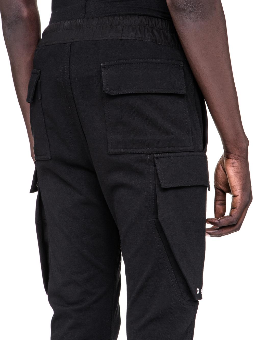 RICK OWENS SS19 BABEL CARGO JOG PANTS IN BLACK COTTON