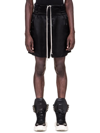 RICK OWENS SS19 BABEL BOXING SHORTS IN BLACK