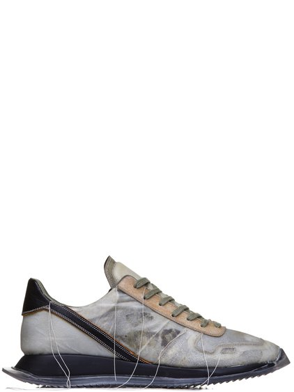 RICK OWENS SS19 BABEL VINTAGE RUNNER LACE UP SNEAKERS IN NATURAL LIGHT GREY