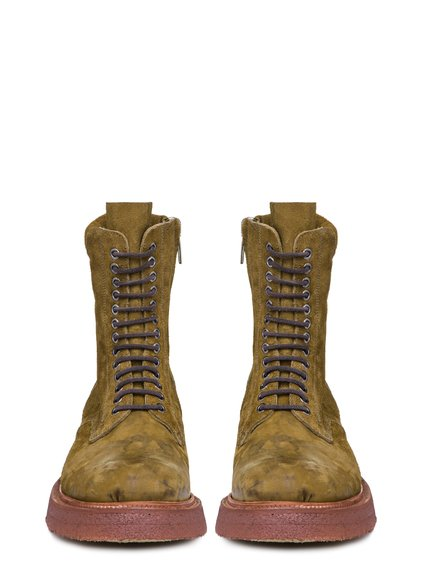 RICK OWENS SS19 BABEL LOW ARMY BOOTS IN MUSTARD GREEN