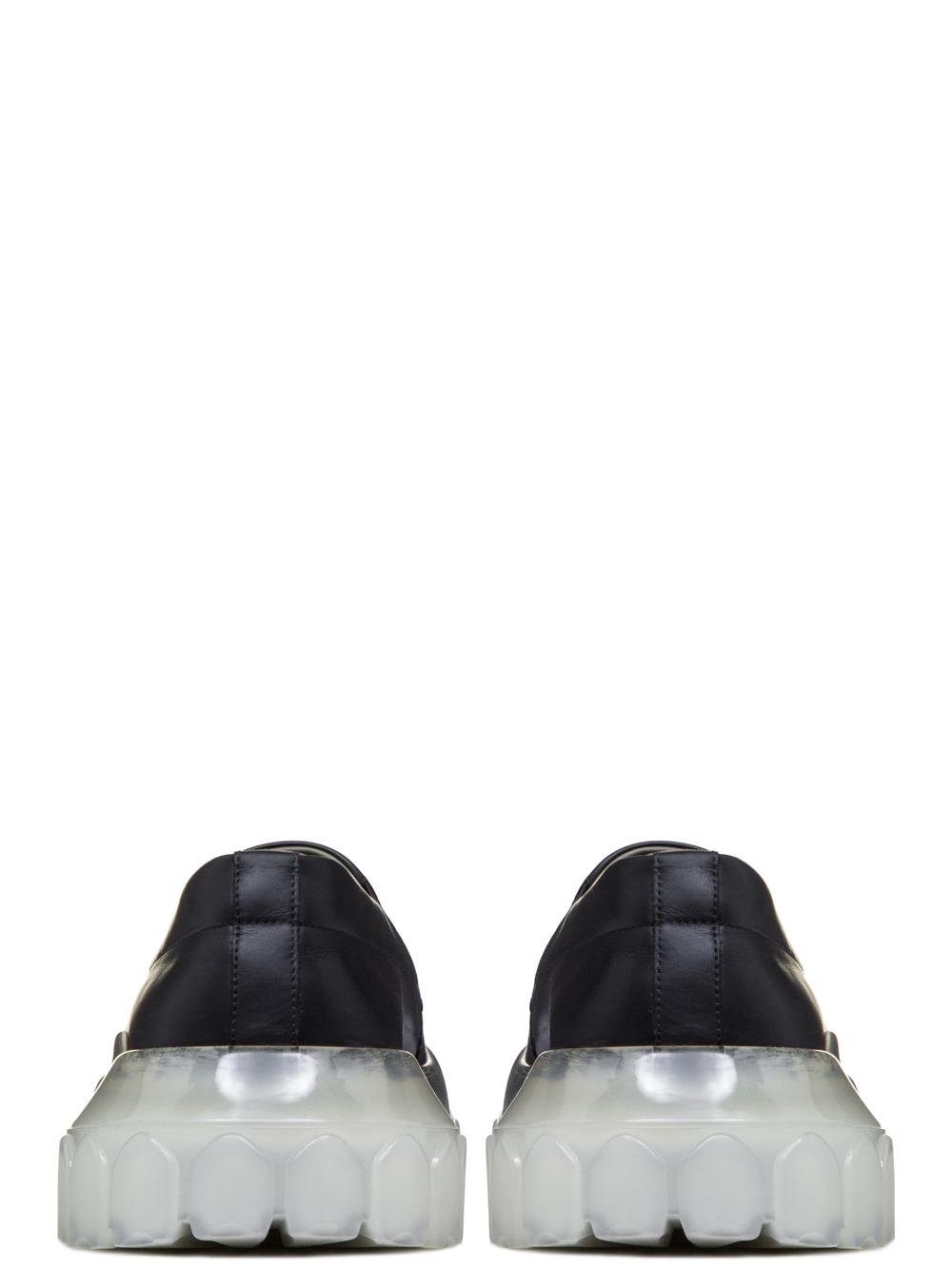 RICK OWENS SS19 BABEL TRACTOR BOAT SNEAKERS IN BLACK CALF LEATHER