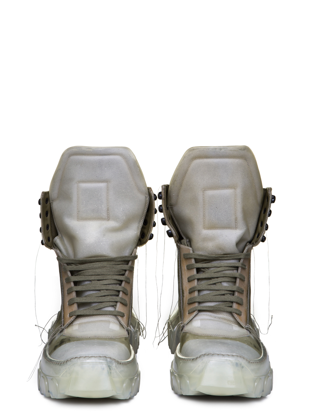 RICK OWENS SS19 BABEL HIKING SNEAKERS IN NATURAL TRANSPARENT CALF LEATHER