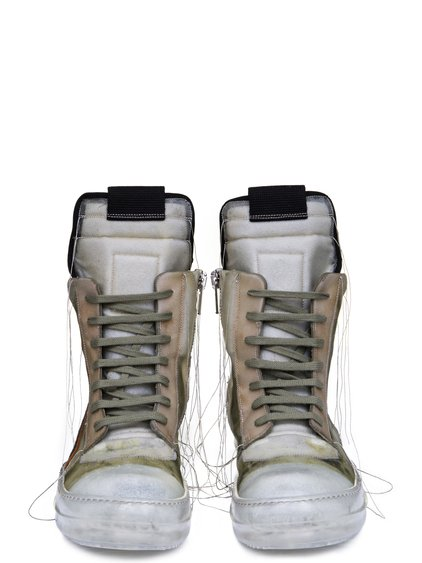 RICK OWENS SS19 BABEL GEOBASKETS IN NATURAL TRANSPARENT CALF LEATHER