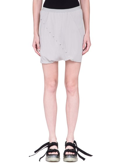 RICK OWENS SS19 BABEL BUD SHORTS IN OYSTER LIGHT GREY SILK