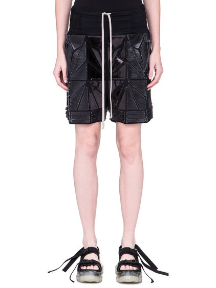 RICK OWENS SS19 BABEL BOXING SHORTS IN BLACK ARE FULLY DECORATED WITH GEOMETRIC PATCHWORK