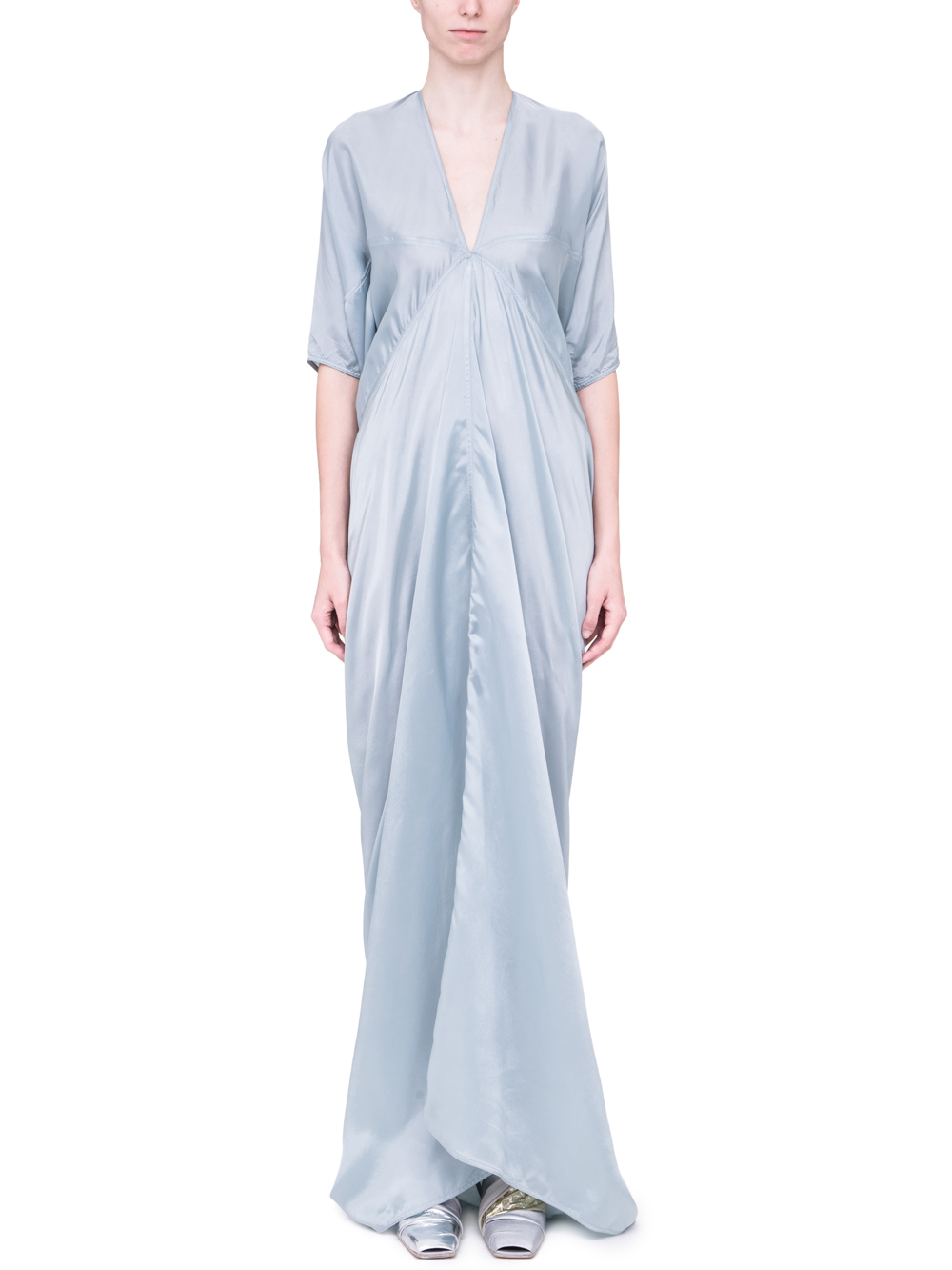 620c2f709317 RICK OWENS SS19 BABEL KITE GOWN IN AQUA LIGHT BLUE CUPRO