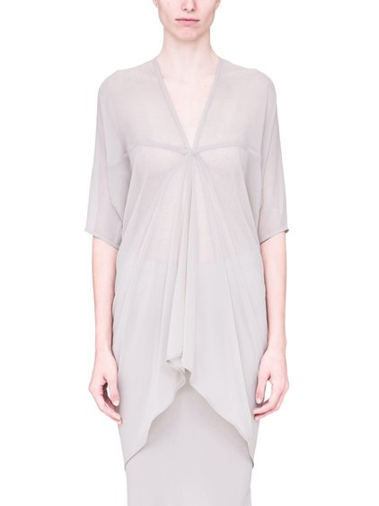 RICK OWENS SS19 BABEL KITE TUNIC IN OYSTER LIGHT GREY
