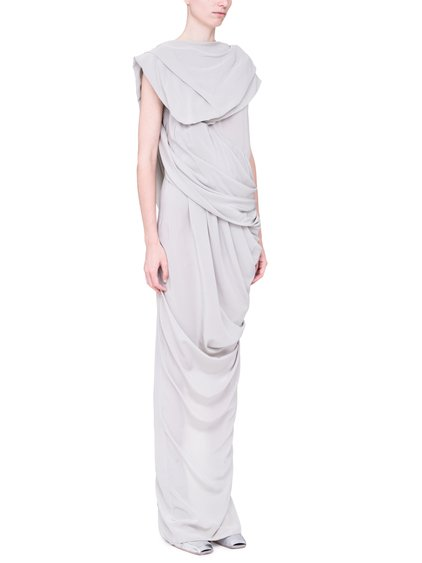 RICK OWENS SS19 BABEL BRANCH GOWN IN OYSTER LIGHT GREY SILK CREPE