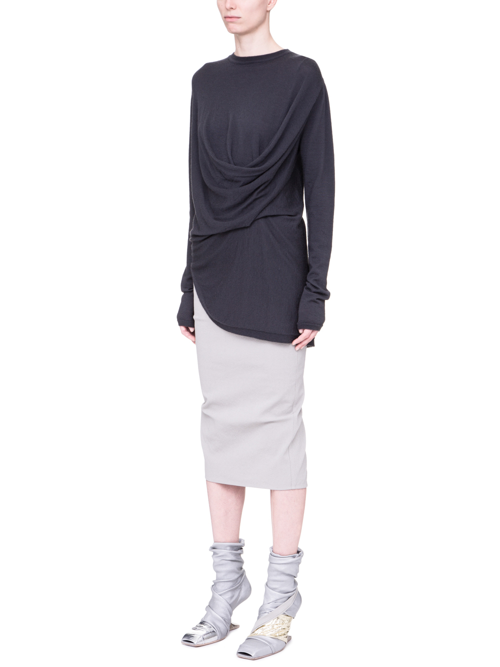 RICK OWENS SS19 BABEL DRAPED KNIT SWEATER IN BLUEJAY BLUE CASHMERE