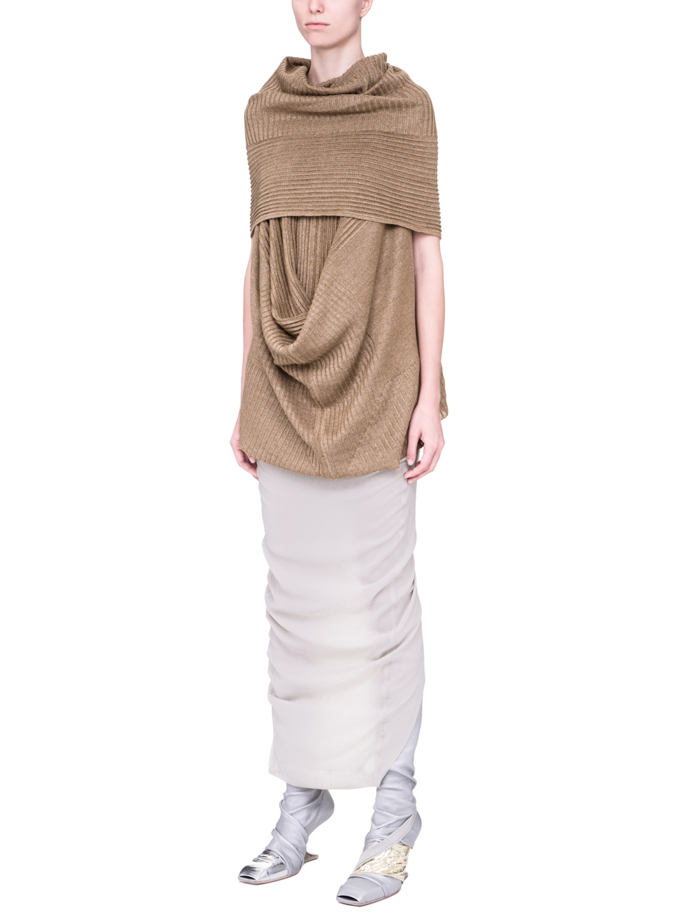 RICK OWENS SS19 BABEL SLEEVELESS SEAHORSE TOP IN GOLD