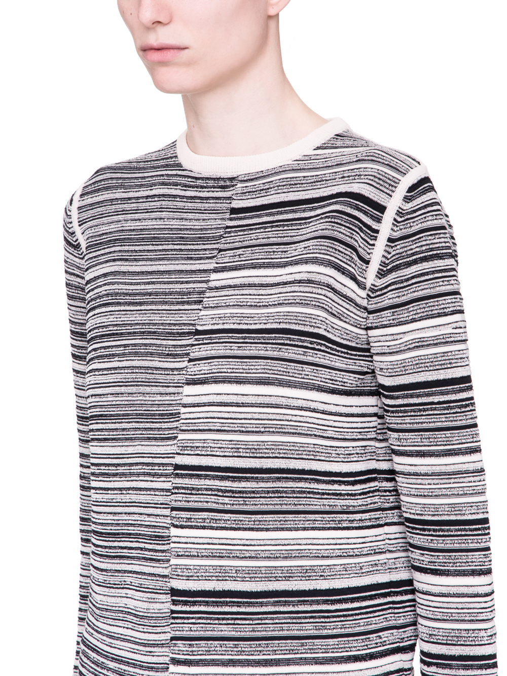 RICK OWENS SS19 BABEL SUB SHRED MIX SWEATER IN BLACK AND NATURAL BEIGE
