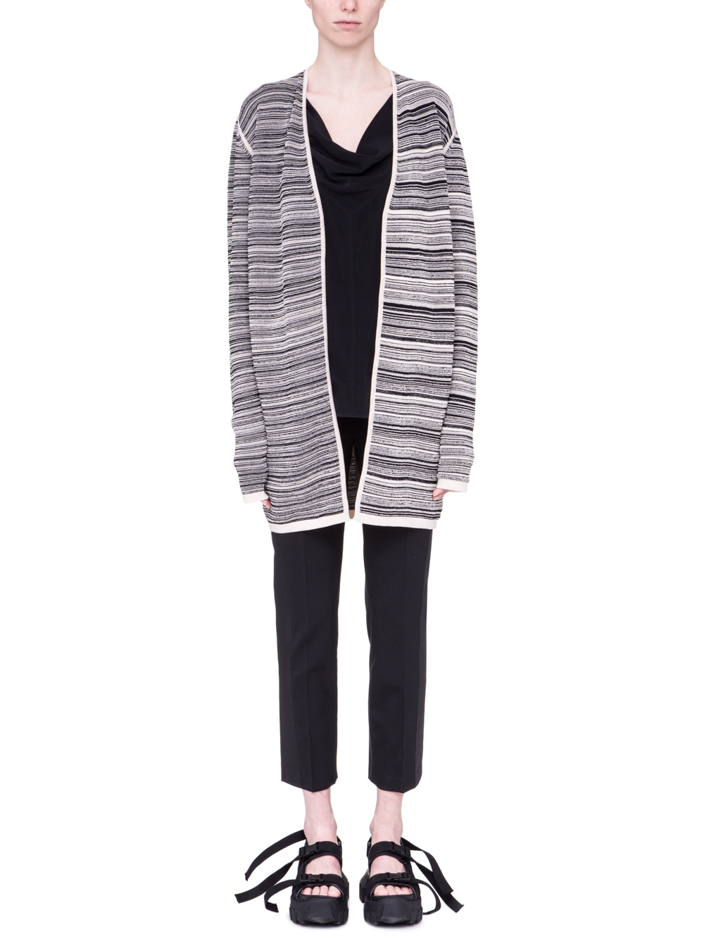 RICK OWENS SS19 BABEL DIRT CARDIGAN IN BLACK AND NATURAL BEIGE