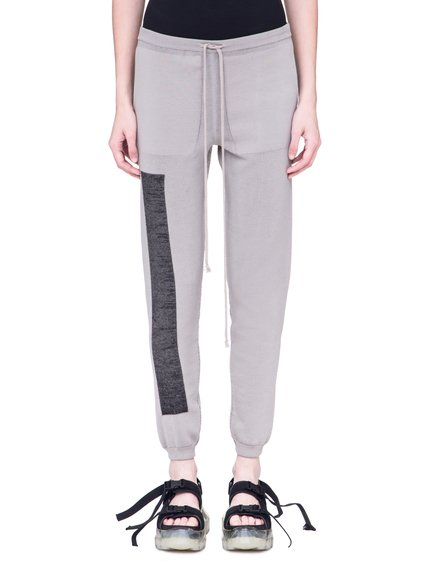 RICK OWENS SS19 BABEL PRISONNER DRAWSTRING KNITTED PANTS IN OYSTER LIGHT GREY